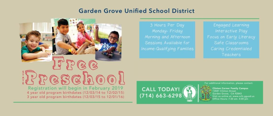 GGUSD | Free State Preschool Registrations will begin in February 2019 | Call 714-663-6298
