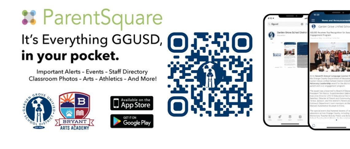 ParentSquare... It's Everything GGUSD, in your pocket. Important Alerts - Events - Staff Directory - Classroom Photos - Arts - Athletics - And More!